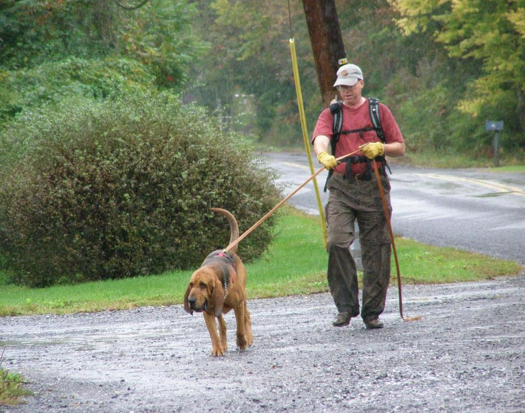 Tom and Carl on the trail in the rain.